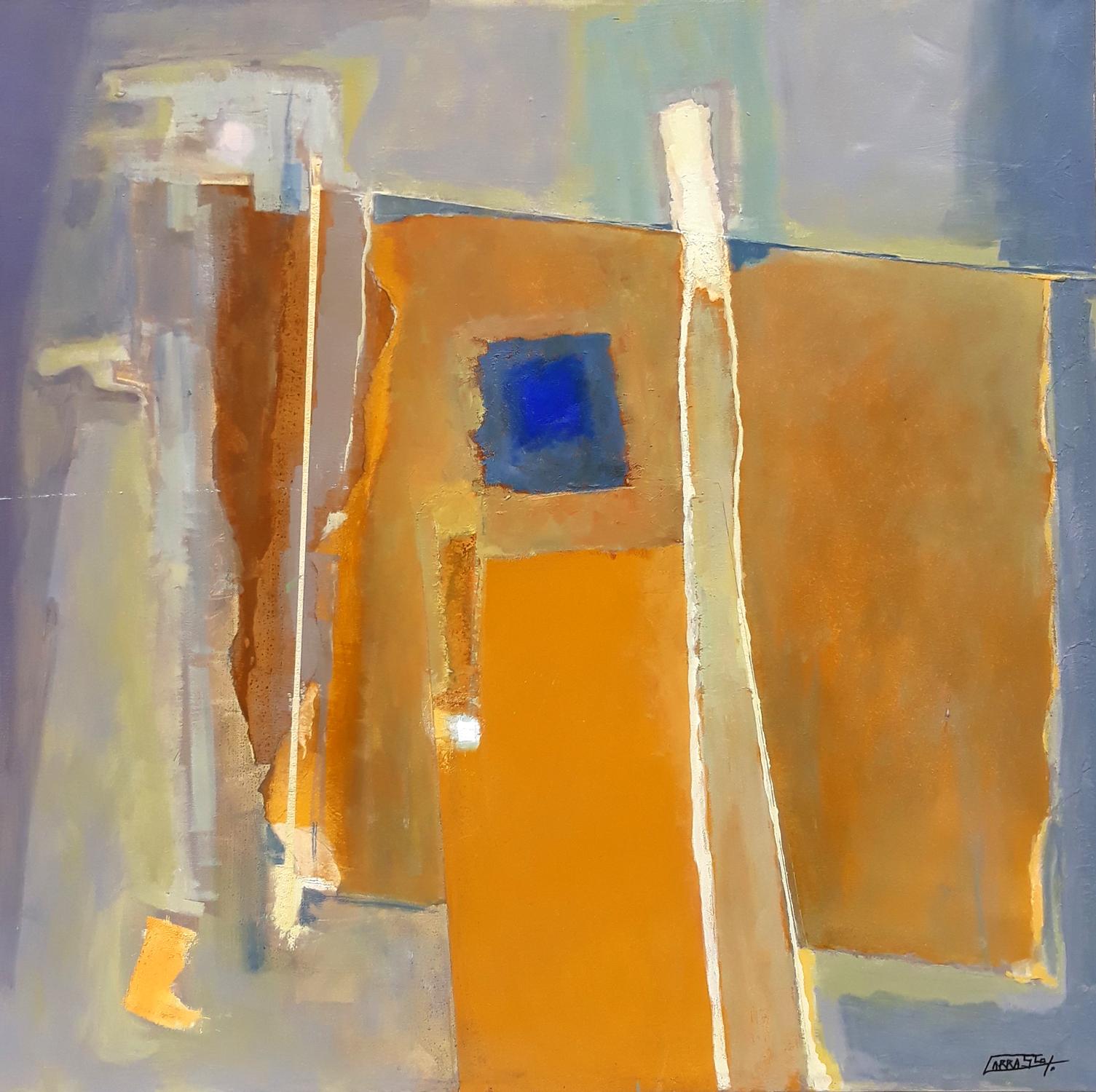 Desierto 02 (90x90) Óleo y Collage sobre tela
